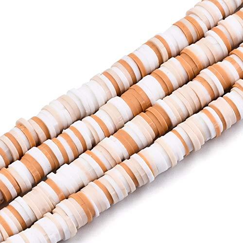 Cheriswelry 10 hebras de 6 mm de disco redondo plano de arcilla polimérica, cuentas coloridas hechas a mano de arcilla Heishi espaciadora abalorios para hacer collares y pulseras (marrón arenoso)