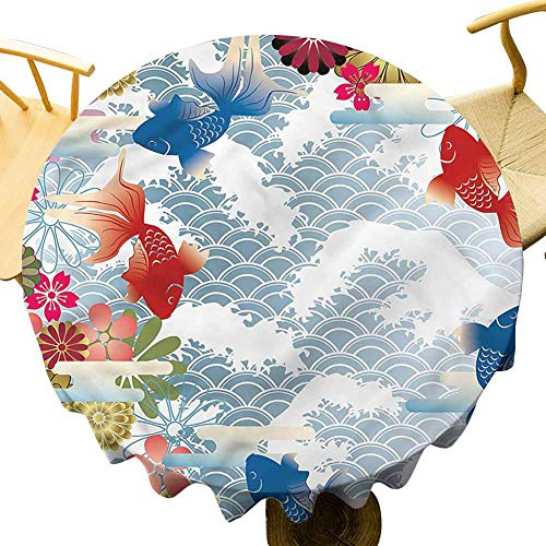 Round Upscale Tablecloth Traditional Japanese Koi Fish. Outdoor Picnic Table Diameter 43'