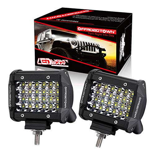 OFFROADTOWN LED Pods, 4inch 144W Quad Row LED Light Bar Work Light Spot Beam Off Road Driving Fog Lights Waterproof LED Cubes for Truck Boat