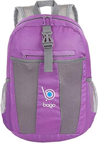Rucksack, leicht, faltbar, platzsparend, für Damen, Herren, Kinder, Violett (violett) - BakpkFld-25-Purple