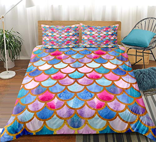 Watercolor Scale Bedding Mermaid Scale Duvet Cover Set Blue Gold Fish Scales Printed Pattern Boys Girls Bedding Sets Twin 1 Duvet Cover 1 Pillowcase (Twin, Multi)