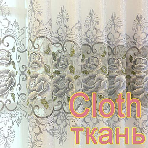 Gordijnen in de woonkamer Luxe grijze gordijnen met borduurwerk voor slaapkamer Woonkamer Raambehandeling Pure tule Gordijnen WP147 * 30, Doek, 1 stuk W100xH180 CM
