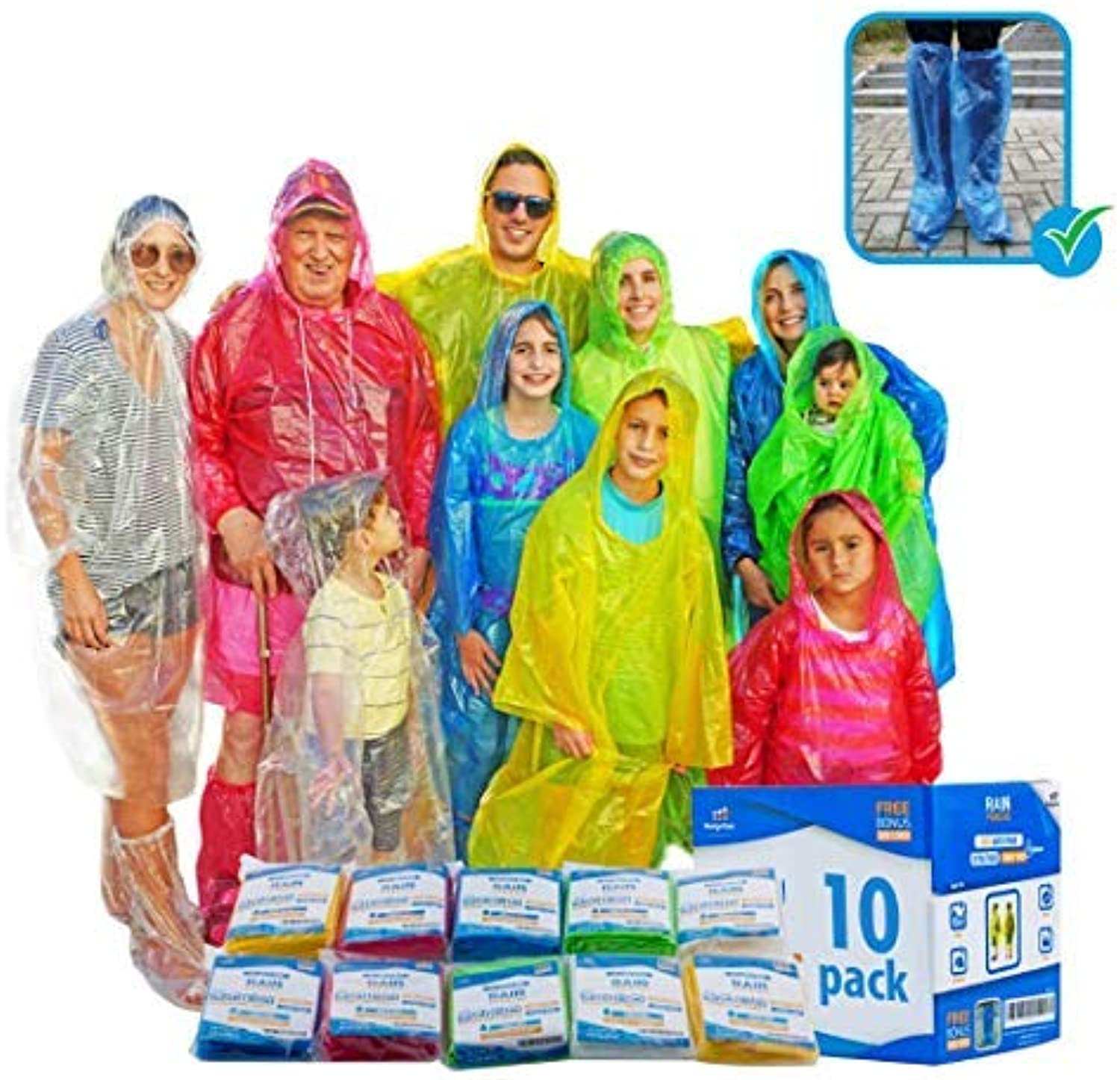 Emergency Family Rain Ponchos Extra Thick  4 and 10 Pack Disposable Plastic Raincoat Bundled with shoes Covers for Adults and Kids  Assorted colors and 100% Waterproof Rain Gear (4,10 Pack)