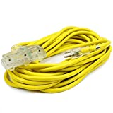 XtremepowerUS 50-feet 10-Gauge Extension Power Cord Wire approval (125V, 15Amp) Current Cable Clear...