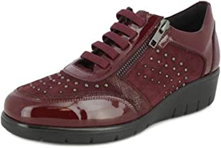 Zapatos Mujer Abotinado DOCTOR CUTILLAS, Piel Color Burdeos, Cremallera/Cordones. Mod.60317