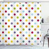 ABAKUHAUS Geometrisch Duschvorhang, Pastell farbige Tupfen, mit 12 Ringe Set Wasserdicht Stielvoll Modern Farbfest & Schimmel Resistent, 175x180 cm, Mehrfarbig