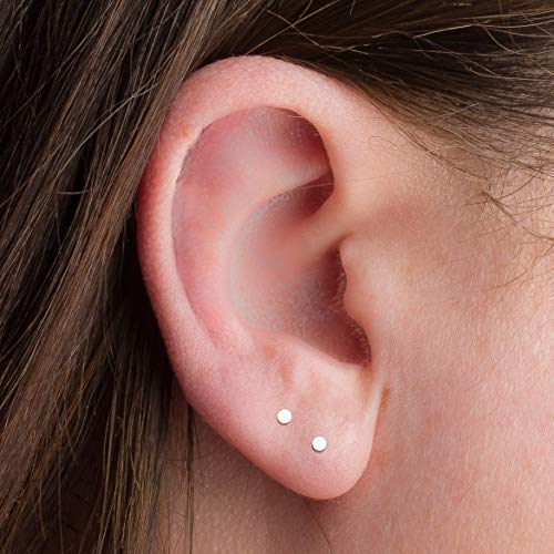 ONE PAIR Super TINY 2mm Round Sterling Silver Dot Disc Earrings - One Pair