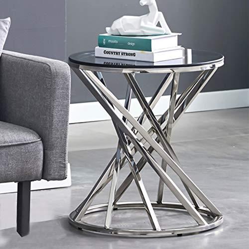 JaHECOME Mesa de centro redonda de cristal con acero inoxidable dorado, mesa...