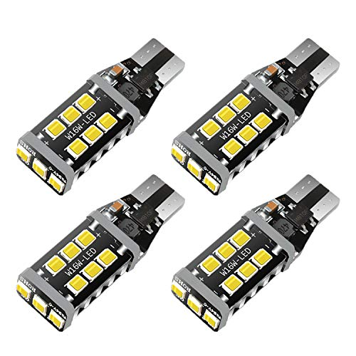 HX-CQHY 921 LED Bulb CANBUS No Error Extremely Bright 912 W16W T15 LED Bulbs Upgraded 15-SMD 2835 Chipsets Replacement for Backup Reverse Lights, 6500K Xenon White, No Hyper Flash(Pack of 4)