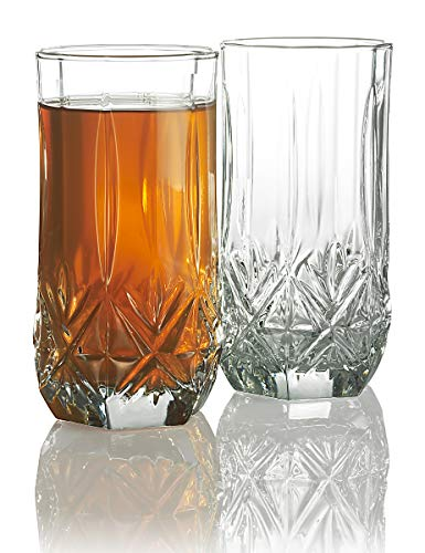 Elegant Highball Glasses {Set Of 12} Clear Heavy Base Tall Bar Glass, {16-oz} Drinking Glasses for Water, Juice, Beer, Wine, and Cocktails