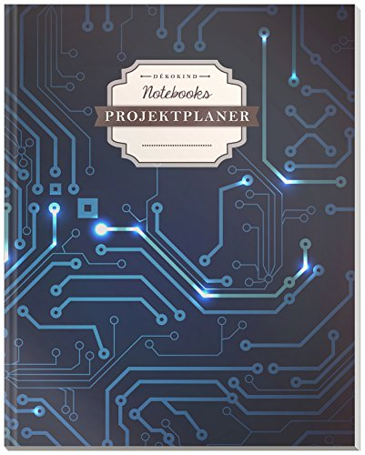 DÉKOKIND Projektplaner | DIN A4, 100+ Seiten, Register, Kontakte, Vintage Softcover | Für über 50 Projekte geeignet| Motiv: Digital
