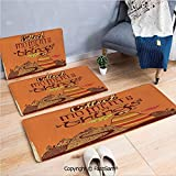 FashSam 3 Piece Non Slip Flannel Door Mat Vintage Aged Poster with Abstract Hills and Curvy Clouds Motivational Positive Indoor Carpet for Bath Kitchen(W15.7xL23.6 by W19.6xL31.5 by W17.7xL53)