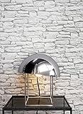 Steintapete in Weiß   schöne edle Tapete im Steinmauer Design   moderne 3D Optik für Wohnzimmer, Schlafzimmer oder Küche inklusive der Newroom-Tapezier-Profi-Broschüre, mit Tipps für perfekte Wände - 2