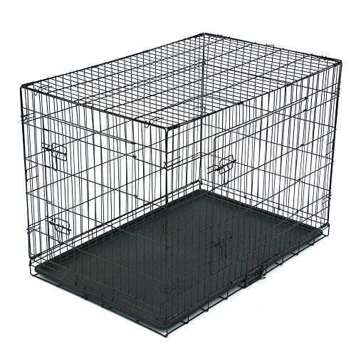 Dog Crate Puppy Box 42' Pet Kennell Cat Rabbit Folding Steel Box Animal Play Pen Wire Metal Cage Black Double Open Cage With Plastic Tray (Arrival in 2-5 days)