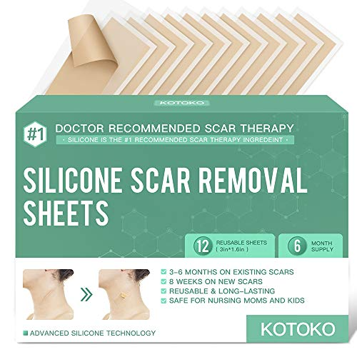 """Reusable and Washable Silicone Scar Sheets -12 Sheets,Soften and Flattens Scars Resulting from Surgery,Burns,Acne, C-Section and More,Silicone Scar Removal Patch Away,3""""×1.6"""",(6 Month Supply)"""