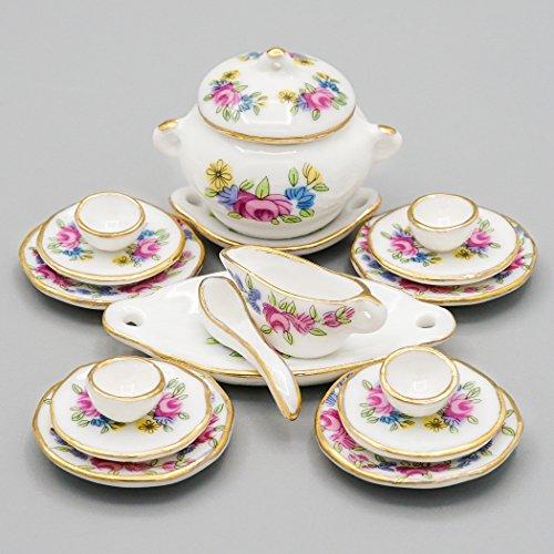 Odoria 1/12 Miniatura 17PZ Vajilla Porcelana con Rosa Rosada Cocina Accesorio para Casa de Muñecas