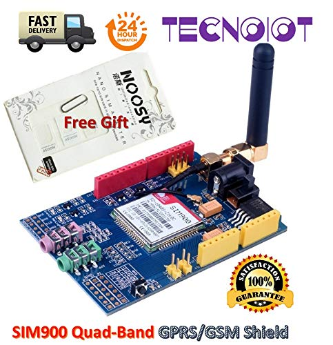 TECNOIOT SIM900 GPRS/gsm Shield Development Board Quad-Band Module with Antenna + Gift