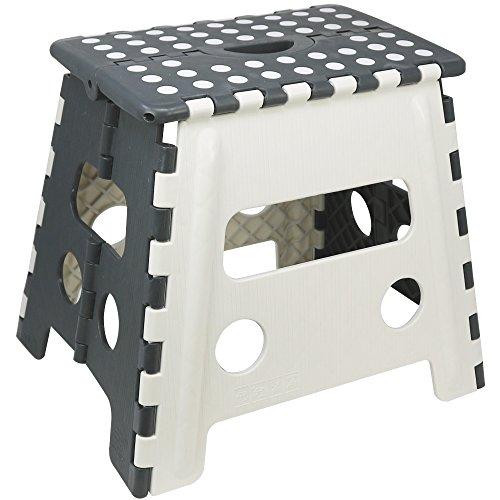 com-four® Klappsitz mit Gumminoppen, Klapphocker in weiß/grau, 37,5 x 30 x 32 cm (37.5 x 30 x 32 cm weiß/grau - 01 Stück)