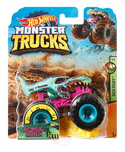 Hot Wheels Monster Truck 1:64 Sick Stuff 1/5, Zombie WREX 4/50, inkl. Connect und Crash-Auto