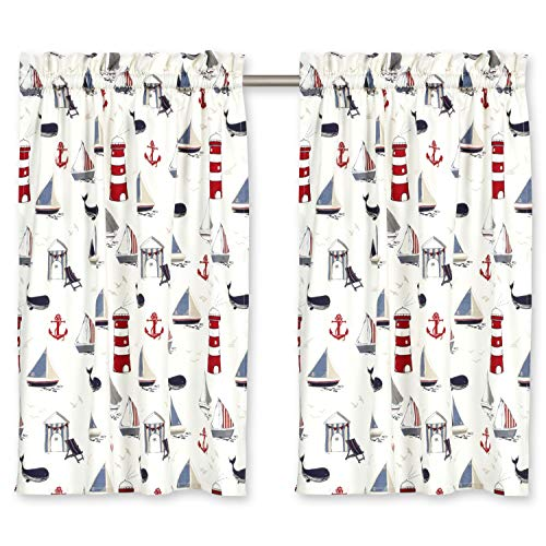 Cackleberry Home Nautical Ocean Cafe Curtains Cotton 28 Inches W x 30 Inches L, Set of 2