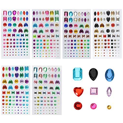 FOCCTS Pegatinas brillantes 6 tabletas adhesivos piedras colores 600pcs pegatinas de diamantes de imitación para teléfono DIY decoración niños manualidades