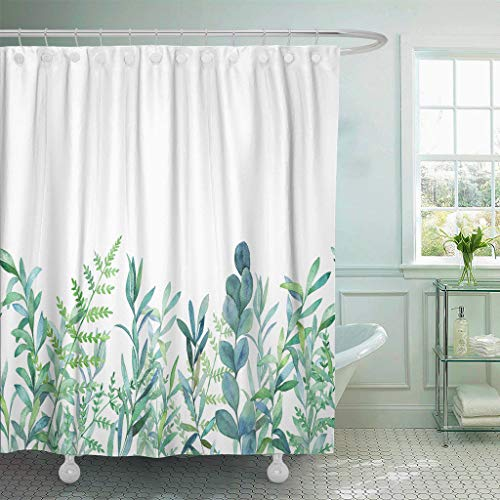 """Emvency Fabric Shower Curtain Curtains with Hooks Green Eucalyptus Watercolor Floral Pattern Botanical Artistic Border Botany Bouquet Branch Christmas Clip 72""""X72"""" Waterproof Decorative Bathroom"""