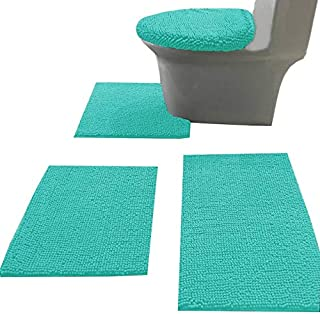 Madeals 4 Piece Bathroom Rug Set with Toilet Lid Cover and Rug Set Combo, Soft Shaggy Bath Rug Set 3 Piece and U-Shaped To...