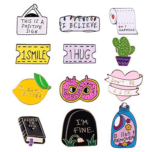 dorisdoll 12 Pcs Enamel Lapel Pin Badges Set Letter Brooch Pins Cute Funny Book Heart Shaped Crafting for Women Girls