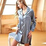 Seda de Hielo Camisón Largo para Mujer Servicio de la casa de Las Mujeres Soold Boyfriend Style Cardigan Reverse Colllar Ladies Yukata Robe (Color : Blue, Size : L)