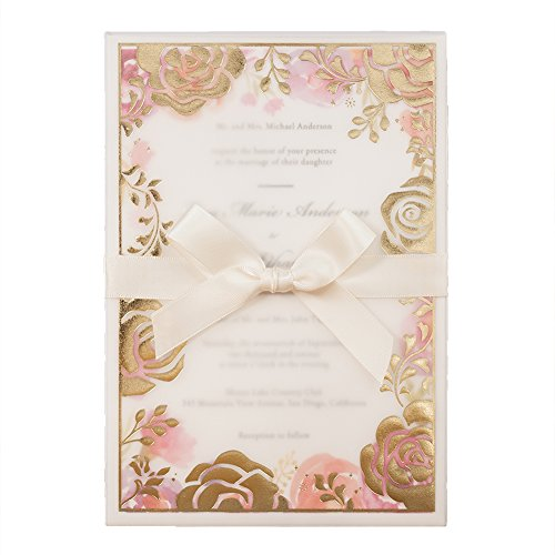 100X Wishmade Floral Invitations Rose Wedding Bronzing Invitations Cards Kit with Ribbon and Envelopes Provide Personalized Printing AW7067
