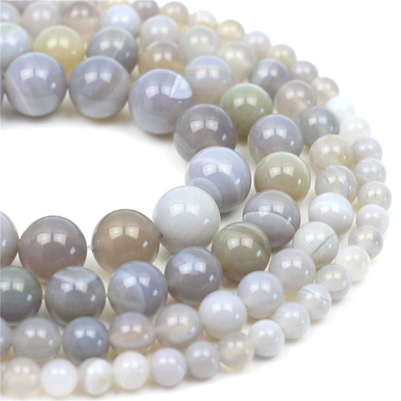 Oameusa Natural Round Smooth 8mm Gray Striped Agate Beads Gemstone Loose Beads Agate Beads for Jewelry Making 15