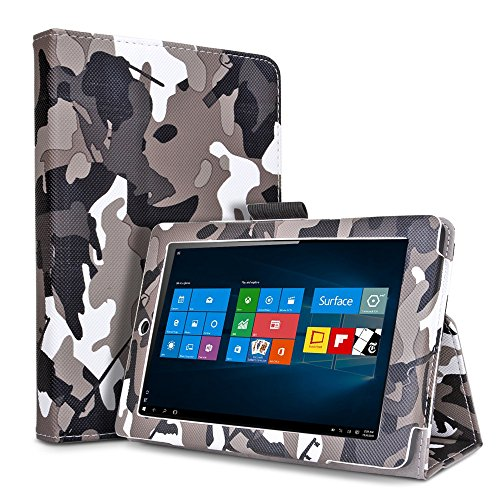 TNP Microsoft Surface Pro 4 Case (Camouflage Black & Gray) - Slim Synthetic Leather Folio Stand Cover with Auto Sleep Wake and Stylus Holder for Microsoft Surface Pro 4 12.3-inch Windows 10 Pro Tablet