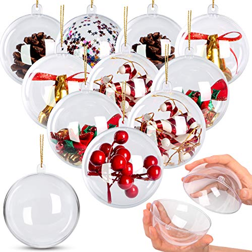 10 Pack 3.94' Clear Ornaments, Clear Plastic Ornaments,Clear Fillable Ornaments Ball for Craft,Christmas Decorations