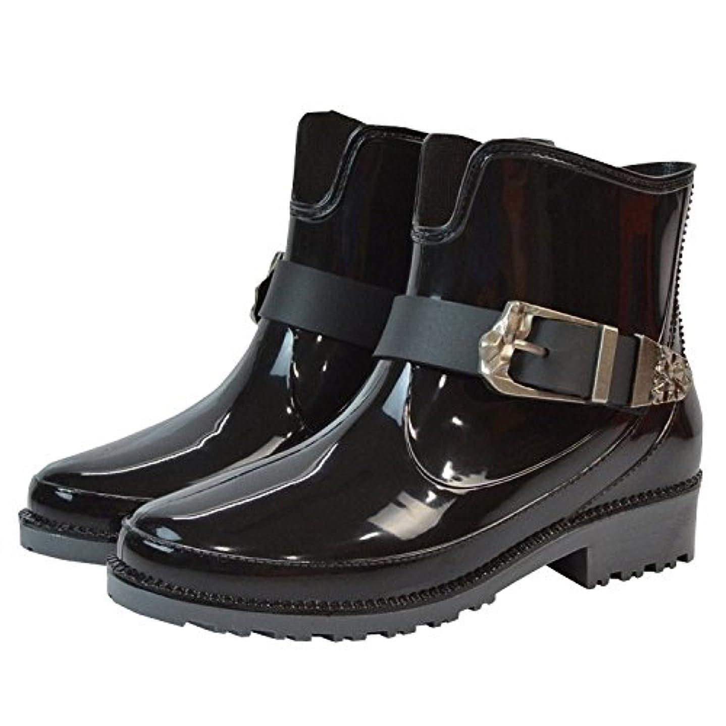 名門石タイピスト[OneStepAdvance] レインシューズ レディース おしゃれ 無地 ショート 長靴 レインブーツ (39(24.5cm), ブラック)
