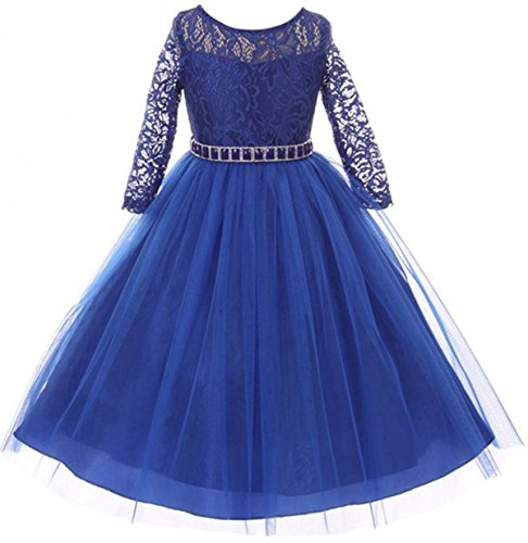 Big Girls' Dress Lace Top Rhinestones Tulle Holiday Christmas Party Flower Girl Dress Royal Size 10 (M37BK2)