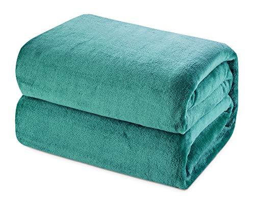 Mantas de Franela 150x200cm Súper Suaves Esponjosas para El Sofá Cama Colcha de Microfibra,tamaño Doble/Matrimonio, Verde Azulado
