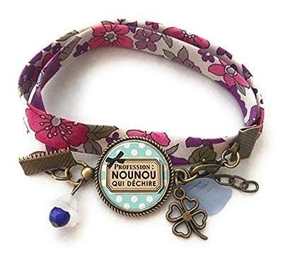 Bracelet liberty Cadeau Nounou * Nounou qui Déchire * bleu violet marron pois blanc cabochon