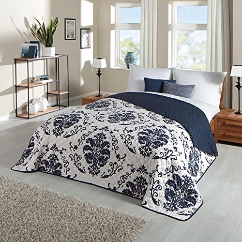 Delindo Lifestyle® Tagesdecke Patchworkdecke Dream blau, für Doppelbett, Ornamente, 220 x 240 cm