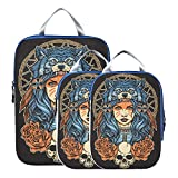 Cubos de embalaje de equipaje Juego de cubos de embalaje de niña americana con tocado de lobo Bolsas organizadoras expandibles para viajes Para equipaje de mano, viajes (juego de 3)