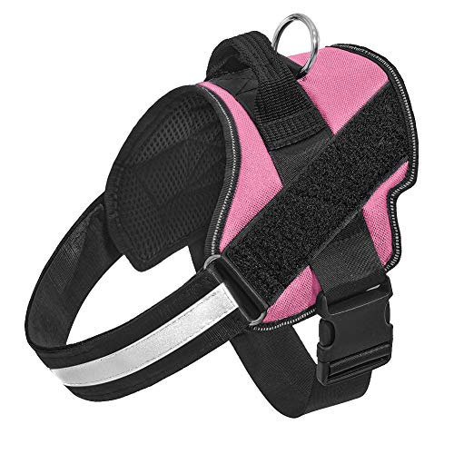 Orinci No Pull Dog Harness for Dogs Adjustable Soft Breathable Padded Pet Vest Reflective Walking Pet Halters with Easy Control Nylon Handle (XL,Pink)