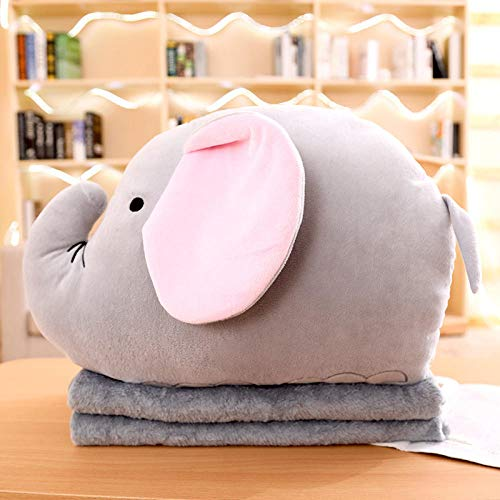 Cartoon anime plus velvet blanket sofa pillow quilt dual purpose square pillow@Baby elephant (long)_Three in one (with small blanket 0.8 * 1 m)