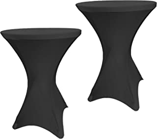 EL Event Linens 2-Pack Spandex Cocktail Table Cover - Fitted High Top Table Cloth, Stretch Tablecloth Covers for Cocktail Tables (Black)