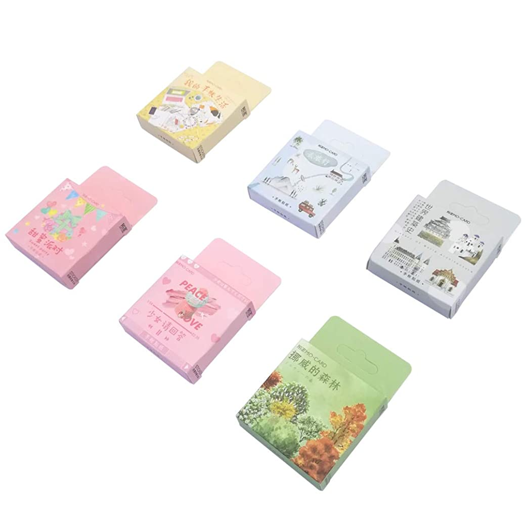 Paper Sticker Set (6 Box, 276 Pieces) Travel Parachute Jumping Camping Tent Boat Backpack Food Dink Party Supplies Famous Builing Stationery Stickers DIY Label for Scrapbooking Journaling Art Craft tdwcvxegzr