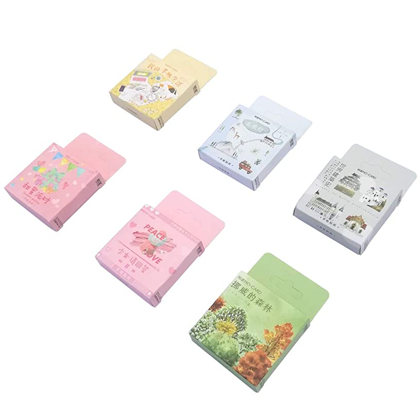 Paper Sticker Set (6 Box, 276 Pieces) Travel Parachute Jumping Camping Tent Boat Backpack Food Dink Party Supplies Famous Builing Stationery Stickers DIY Label for Scrapbooking Journaling Art Craft