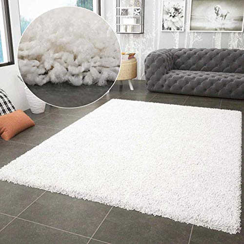 VIMODA Prime Shaggy Teppich Weiss Creme Hochflor Langflor Teppiche Modern, Maße:120x170 cm