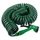 Garden Coil Hose Pipe With Spray Gun And Tap Connector