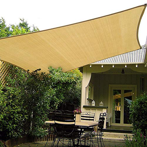 LSM Velas de Sombra Cubierta para Sombrilla de Jardín, Tela de Malla Duradera 80% UV Bloquear Vela de Sombra con Borde Encintado, Toldos de Arco Beige para Mirador de Pérgola (Size : 1×1m)