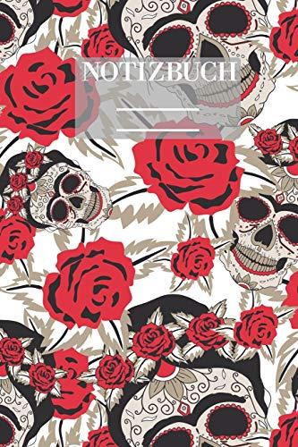 Notizbuch Garten Muster Pattern Pflanzen Blumen Pflanze Flower Blüte Rose Schädel Knochen: • 111 Seiten • EXTRA Kalender 2020 • Einzigartig • ... Karo • Kästchen • Geschenk • Geschenkidee