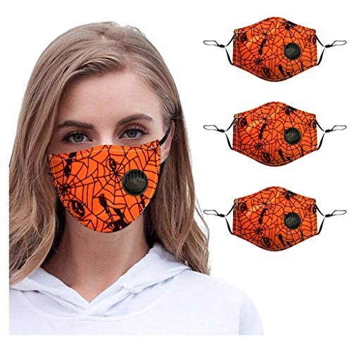 AHAYAKU 3pcs Halloween Outdoor Adult Protect face Guard Washable with Breather Valve Reusable face Protection