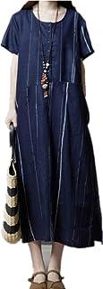 feelstyleレディースワンピース リネン 綿麻 半袖 ゆったり ロング丈 大きいサイズ ボーダー チュニック 夏